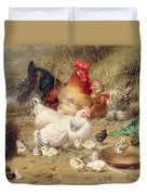 Hens Roosting With Their Chickens Duvet Cover