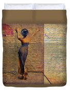 Her Back To The Wall Duvet Cover