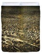 Herancourts Birdseye Of Minneapolis 1885 Duvet Cover