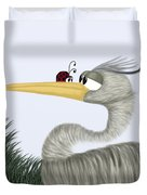 Herb The Heron And His Visitor Duvet Cover