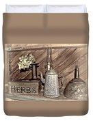 Herbs Bw Duvet Cover