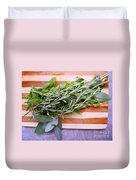 Herbs On Cutting Board Duvet Cover