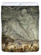 Hercules Supporting The Sky Instead Of Atlas Duvet Cover by Arthur Rackham