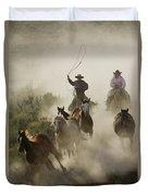 Herding Horses Oregon Duvet Cover