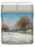 Herding Sheep In Wintertime Duvet Cover by Frank Hind