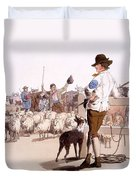 Herdsmen Of Sheep And Cattle, From The Duvet Cover by William Henry Pyne
