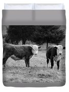 Hereford Portrait V In Black And White Duvet Cover by Suzanne Gaff