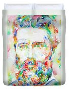 Herman Melville Watercolor Portrait.1 Duvet Cover