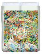 Hermann Hesse With Hat Watercolor Portrait Duvet Cover