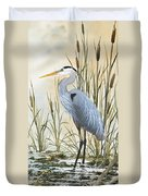 Heron And Cattails Duvet Cover