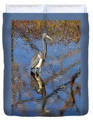 Heron And Reflection In Jekyll Island's Marsh Duvet Cover by Bruce Gourley
