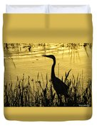 Heron At Sunrise Duvet Cover