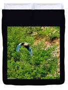 Heron Flies Over Oak Creek In Red Rock State Park Sedona Arizona Duvet Cover
