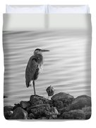 Heron In Black And White Duvet Cover