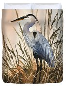 Heron In Tall Grass Duvet Cover