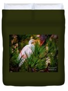 Heron In The Pines Duvet Cover