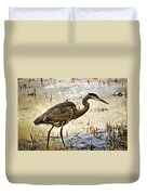Heron On A Cloudy Day Duvet Cover