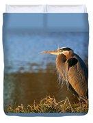 Heron On The Lake Duvet Cover