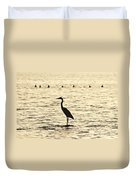 Heron Standing In Water Duvet Cover
