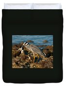 Heron With Crab Duvet Cover