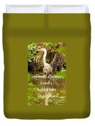 Heron With Quote Photograph  Duvet Cover