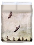 Herons In Flight Monotone Duvet Cover