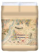 Herreras Map Of A Mexican War Campaign 1848 Duvet Cover