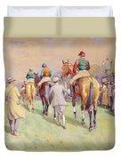 Hethersett Steeplechases Duvet Cover by John Atkinson