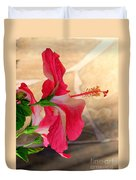 Hibiscus Along The Walk Way Duvet Cover
