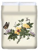 Hibiscus And Butterfly Duvet Cover