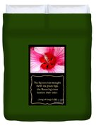 Hibiscus Closeup With Bible Quote From Song Of Songs Duvet Cover