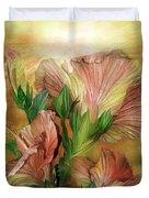 Hibiscus Sky - Peach And Yellow Tones Duvet Cover