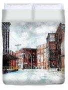 Hickory - Urban Building Row Duvet Cover