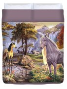 Hidden Images - Horses Duvet Cover by Steve Read