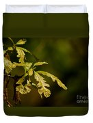 Hidden Leaves With A Green Back Ground Duvet Cover by Robert D  Brozek