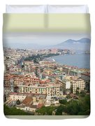 High Angle View Of A City, Naples Duvet Cover