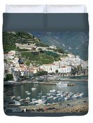High Angle View Of A Town, Amalfi Duvet Cover