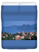 High Angle View Of A Town At The Coast Duvet Cover