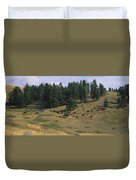 High Angle View Of Bisons Grazing Duvet Cover