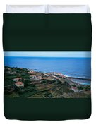 High Angle View Of Houses At A Coast Duvet Cover