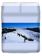 High Angle View Of Skiers Skiing, Vail Duvet Cover