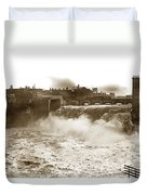 High Falls On The Genesee River Rochester New York At Flood Stage Circa 1904 Duvet Cover