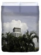 High Rise Buildings Behind Trees Along With Construction Work In Singapore Duvet Cover