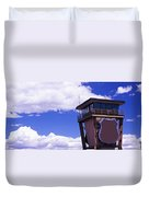 High Section View Of Railroad Tower Duvet Cover