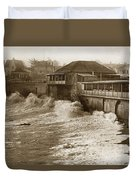 High Tide And Big Waves At Lovers Point Beach Pacific Grove California Circa 1907 Duvet Cover