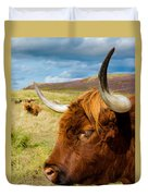 Highland Cattle On Scottish Pasture Duvet Cover