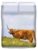 Highland Cow Watercolour Duvet Cover