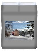 Highland Farms In The Snow Duvet Cover