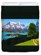 Highlands Of Chile  Lago Pehoe In Torres Del Paine Chile Duvet Cover