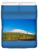 Highway Passing By Mountain Duvet Cover